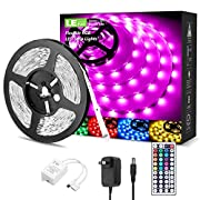 Amazon #DealOfTheDay: LE LED Strip Lights Kit, 16.4ft 5M RGB LED Light Strips, Color Changing Light Strip with Remote Control, 12V Power Supply for Kitchen, Bedroom, and More, Non Waterproof