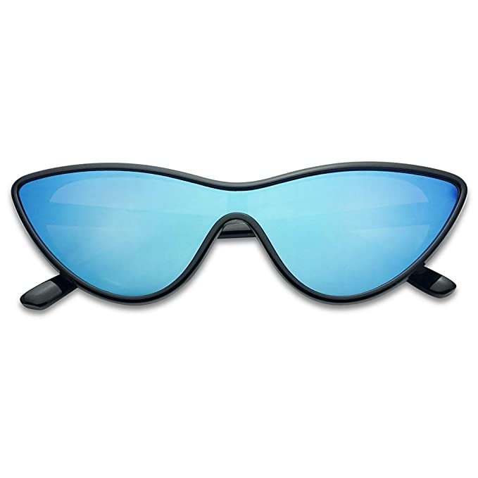 Full Futuristic Mono Lens Cat Eye Shield One Piece Colorful Mirror Goggle Sun Glasses