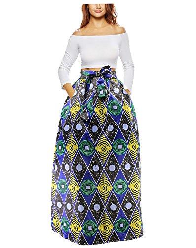 Aibearty Women S-2XL African Floral Printed Long Skirt A Line Maxi Skirt High Waist Casual Skirt with Pockets(send a kerchief)