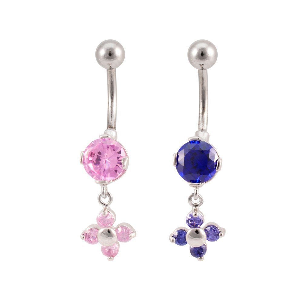 Solitaire Flower Dangling Belly Button Nave Ring