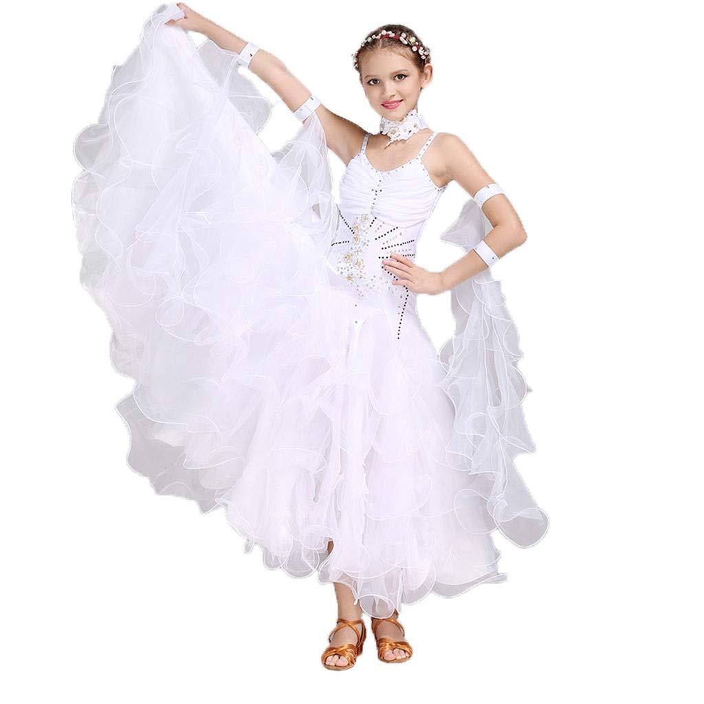 blanc X-grand LXYFMS Robe de Danse Moderne pour Enfants, Jupe de Concours de Danse pour Enfants à Manches Courtes (Couleur   rouge, Taille   XL)