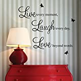 Live every moment,Laugh every day, Love beyond words. with 2x butterfly wall quote art sticker decal for home bedroom decor corp office wall saying mural wallpaper birthday gift for boys and girls by homeking