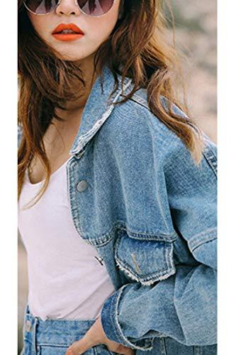 Denim Outcoat Veste sont en Se Bouton Punk Jean Lightblue Vues Petit Style Femmes Les 7A8qgg