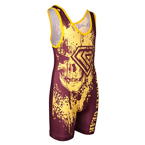 KO Sports Gear Gold and Maroon Skull Wrestling Singlet - Closeout ()
