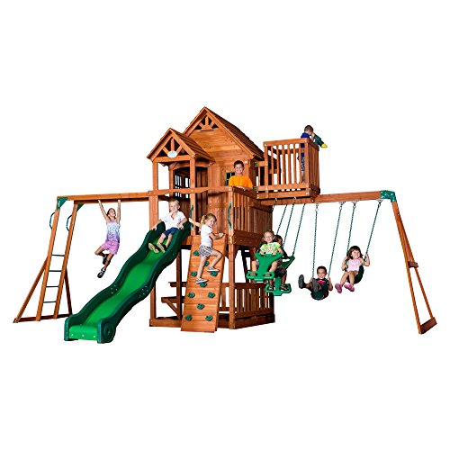 Backyard Discovery Skyfort II All Cedar Wood Swing Set Cedar Rock