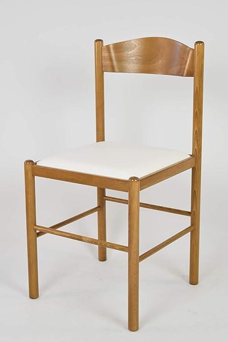 tmcs Tommychairs Set 2 sedie Classiche Pisa 38 per Cucina e Sala da Pranzo, Struttura in Legno di faggio Verniciata Color Rovere e Seduta Imbottita