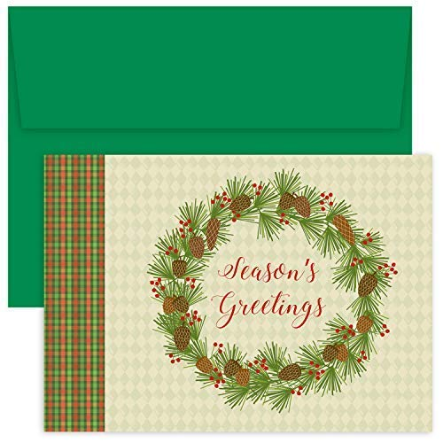 Masterpiece Hollyville 18-Count Christmas Cards in Keepsake Box, Plaid Pinecone Wreath