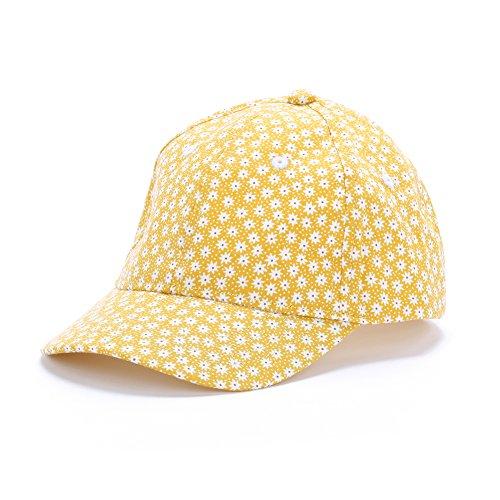 Peppercorn Kids Girls Flower Print Fun Summer Baseball Cap - Sunny Yellow - M (2-6Y) by Peppercorn Kids