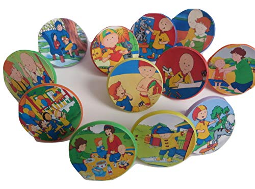Caillou cupcake toppers Rings 12ct- goody bag, loot, birthday -