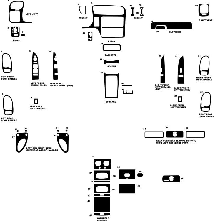 Rvinyl Rdash Dash Kit Decal Trim for GMC Jimmy 1998-2001 - Carbon Fiber 4D (Silver)