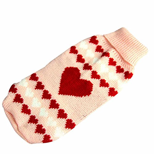 Image of HP95(TM) Dog Clothes Pet Winter Woolen Sweater Knitwear Puppy Clothing Warm Love Heart High Collar Coat (M)