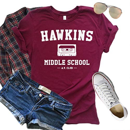 Stranger Things Shirt Hawkins Middle School A.V Club Graphic T-Shirt Women Short Sleeve Vintage Tees (Red, XL)