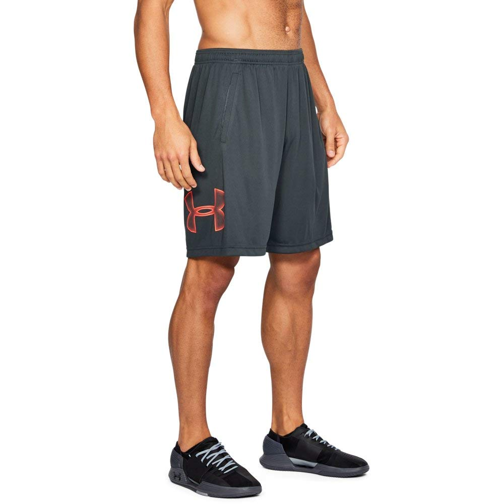 UNDER ARMOUR mens Tech Graphic Shorts , Anthracite (016)/Neon Coral, Medium