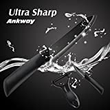 Superior Zirconia Ceramic Kitchen Knife Set With Sheath - 4 Super Sharp Never Rust or Stain Cutlery Kitchen Knives & 1 Vegetable / Fruit Peeler with Ergonomic Handles (Black Blade)-By Ankway