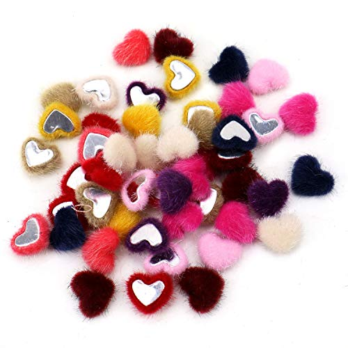 JETEHO 50 Pcs Assorted Color Small Fluffy Hairy Heart Fabric Covered Flatback Buttons Cabochons Craft Beads DIY Scrapbooking