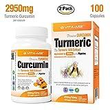 Vita-Age® Turmeric Curcumin 2950mg per Capsule Daily with Black Pepper 2,000% More Bioavailable