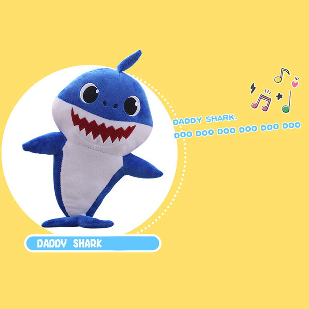 Enjoyfeel Soft Music Sound Baby Doll Stuffed Plush Toys Singing English Song for Boy Girl Baby Shark Official Singing Plush Blue