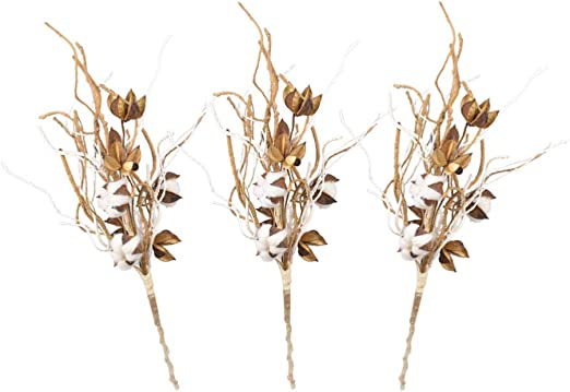 SUPVOX Rama de Flores secas de Tallos de algodón 3pcs para ...
