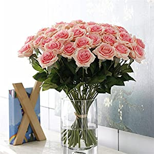 CoronationSun - Flowers Rose Peony - 25pcs/lot Artificial Flowers Rose Peony Flower Home Decoration Wedding Bouquet 9 Colors 61