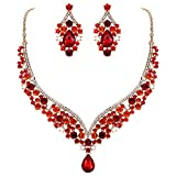 EVER FAITH Austrian Crystal Elegant V-shaped Teardrop Necklace Earrings Set Red Gold-Tone