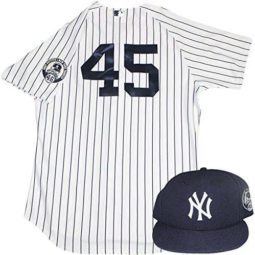 Chasen Shreve Uniform - NY Yankees 2015 Game Used #45 Jersey and Hat w/ Pettitte Retirement Patch (8/23/2015)
