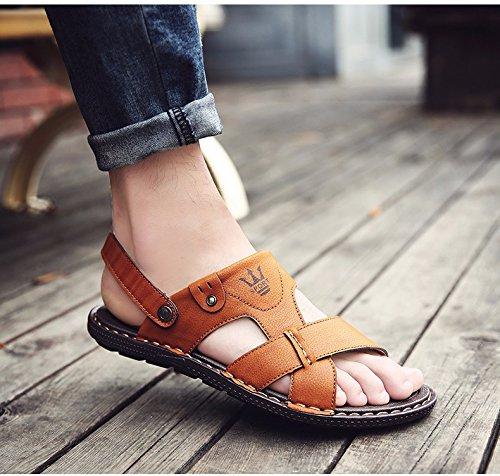 Sandalen Männer Das neue Sommer Männer Schuh Rutschfest Tragbar Dualer Gebrauch Strand Schuh Männer Flip Flops Sandalen Trend ,Gelb,US=7.5,UK=7,EU=40 2/3,CN=41