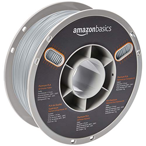 AmazonBasics Premium PLA 3D Printer Filament, 1.75mm, Gray, 1 kg Spool