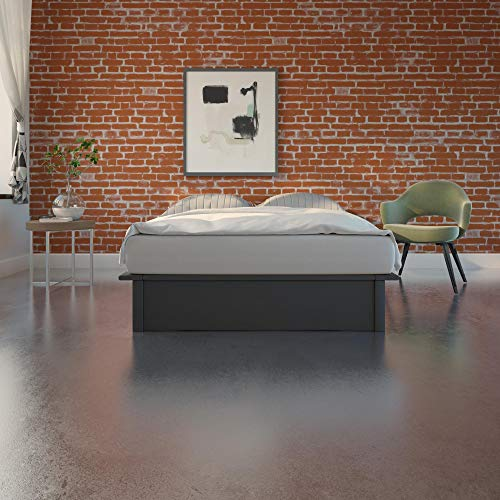 DHP Maven Platform Bed with Upholstered Linen and Wooden Slat Support, Queen Size - Grey