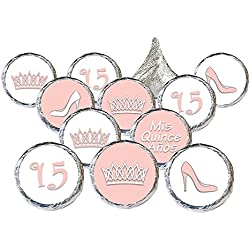 Quinceanera Party Favor Stickers, 324 Count (Soft Pink)