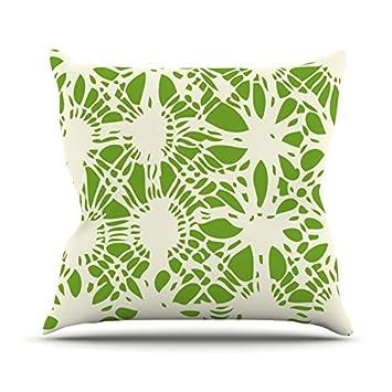 Kess Inhouse Laura Nicholson Drawnwork Throw Pillow 20 By 20 Green White Throw Pillows Decorative Pillows Inserts Covers Startisten De