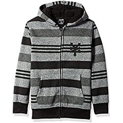 Zoo York Big Boys' Hoodie with Sherpa Lining, Lineage Black Heather, Large (14/16)