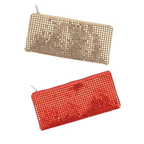 fablcrew Federmäppchen Pailletten Pure Farbe Bleistift Fall Zipper-Speicher-Rucksack Kosmetik für die Schülerinnen oder das Büro Frauen 19.8*9.2cm rot blau