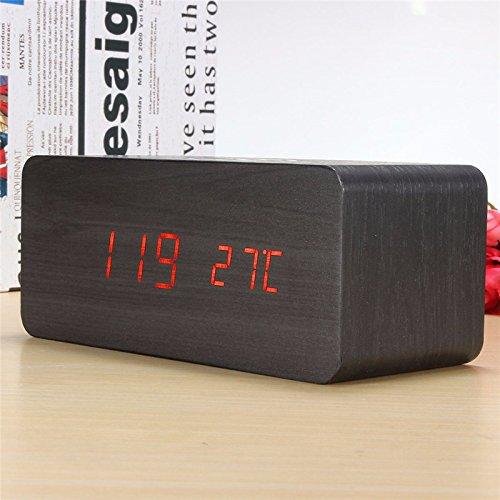 Black Digital LED Wooden Desk Alarm Clock With Thermometer V