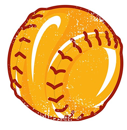 Softball Vintage Retro Wall Decor Bar Decorations Sport Cutout Sign (Aluminum) (12 Inch Tall) ()