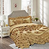Tache Home Fashion 1631-Q Comforter Set, Queen, Gold