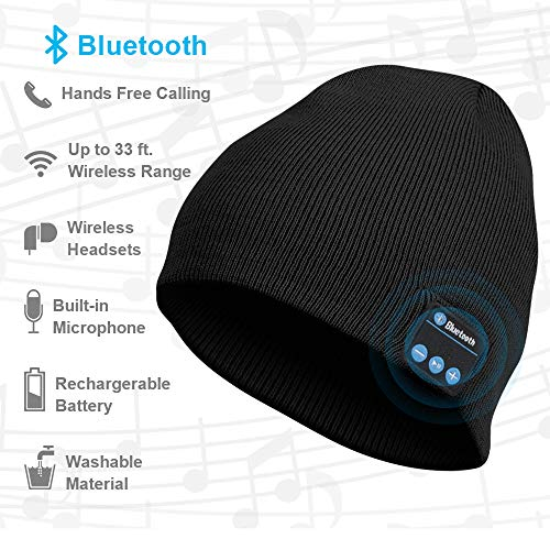Bluetooth Beanie Hat, Upgraded Bluetoooth 5.0 with Siri, Wireless Headphone Beanie Music Hat, Gifts for Men and Women, Winter Knitting Cap Bluetooth Earphones, Built-in Microphone Hand-Free CalL