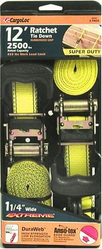 CargoLoc 84004 12-Foot-by-1-1/4-Inch Extreme Super Duty Ratchet Tie Downs, 2-Pack by Allied International