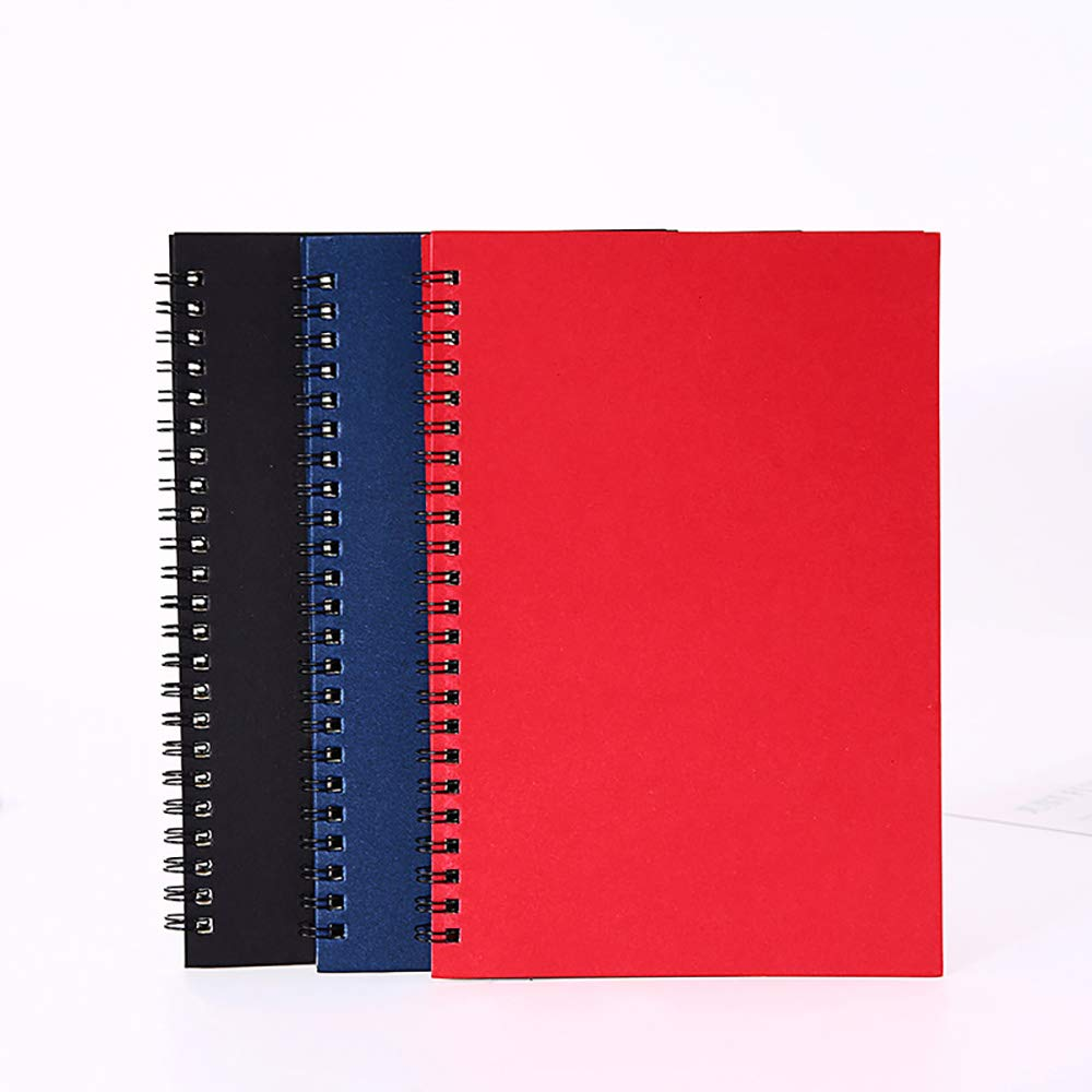 GRT Steno Notebooks 6'' x 9'' Gregg Rule Black Red Blue Cover 50 Sheets 3 Pack 150 Sheets Total plus A5 Spiral Notepad for Classroom Note Taking To-do Lists Journal Diary Drawing Lined Paper