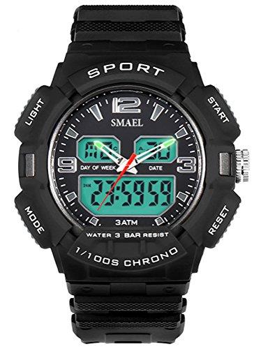 Gray Chronograph Alarm (Men's Sport Quartz Wrist Watch Dual Movement With Analog-Digital Display 1/100 Second Chronograph Alarm Clock For Students (gray))