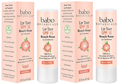 Spf Balm Lip 15 Sheer (Babo Botanicals Lip Tint Conditioner SPF 15 Beach Rose (Pack of 2) with Beeswax, Shea Butter, and SUnflower Seed Oil, 0.15 oz.)