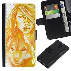 Be-Star la tarjeta de Crédito Slots PU Funda de cuero Monedero caso cubierta de piel Para Samsung Galaxy S4 IV I9500 ( Woman Wolf Dog Portrait Painting Art )