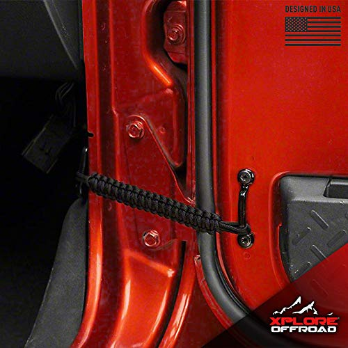 (XPLORE OFFROAD | Jeep Wrangler | Paracord Door Limiting Straps CJ YJ TJ JK | 550 Pound Strength Durable Swing Limiter Restrictor Pair | 2)
