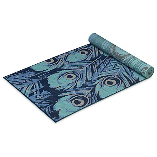 Gaiam Yoga Mat Premium Print Reversible Extra Thick Non Slip Exercise & Fitness Mat for All Types of Yoga, Pilates & Floor Exercises, Marbled Peacock, 6mm