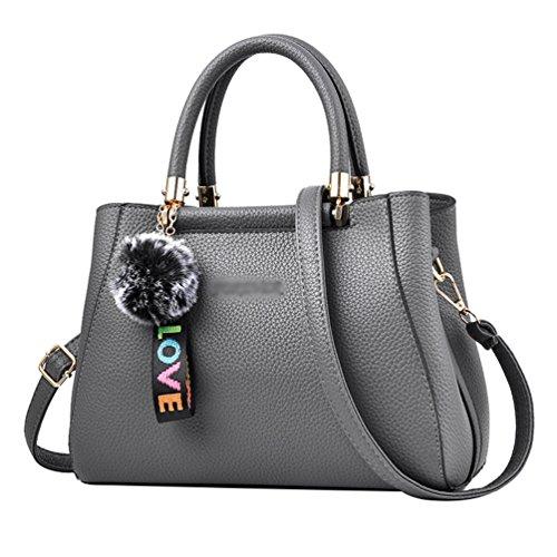 Linnuo Big Bag Women Pu Leather Shoulder Bag Fashion Ability Totes Messenger Bag Gray