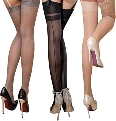 Lifevv Womens 2 Pairs Silicone Hold up Sheer Lace Top Thigh Highs Stockings