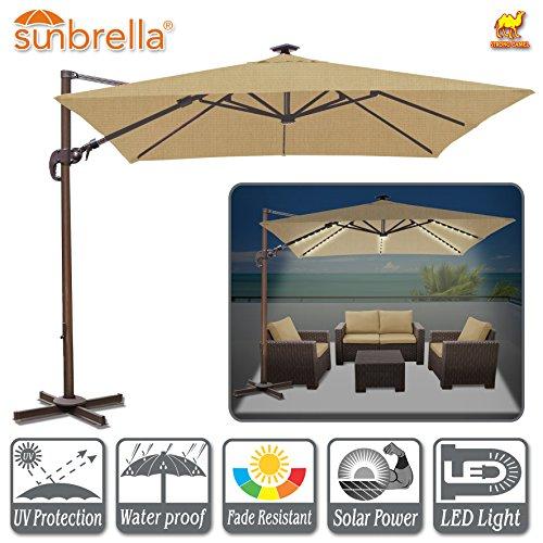 Strong Camel 10'x10' Deluxe Hanging Roma Umbrella Offset Umbrella UV50+ Tilt & 360 Degree Rotation Patio Heavyduty Cantilever Umbrella with Sunbrella Cover (Heather Beige)
