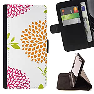 Momo Phone Case / Flip Funda de Cuero Case Cover - Vintage Floral Blanco Naranja Rosa - Huawei Ascend P8 (Not for P8 Lite)