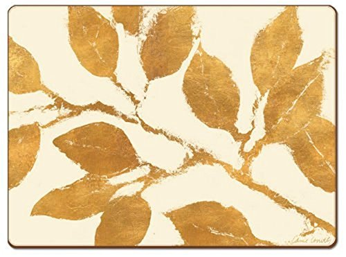 Cala Home 4 Premium Hardboard Placemats Table Mats, Golden Leaves by Cala Home