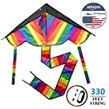 ourfun Huge Rainbow Kites for Kids Boys Girls Perfect Family Games for Teens and Adults Best Outdoor Toys for Beach Lawn Backyard Garden Park 330 Feet Kite String Fiberglass Rods