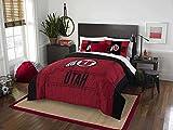 3pc NCAA University Utah Runnin' Utes Comforter Full/Queen Set, Red, Team Spirit, Team Logo, Fan Merchandise, Sports Patterned Bedding, Black, College Basket Ball Themed